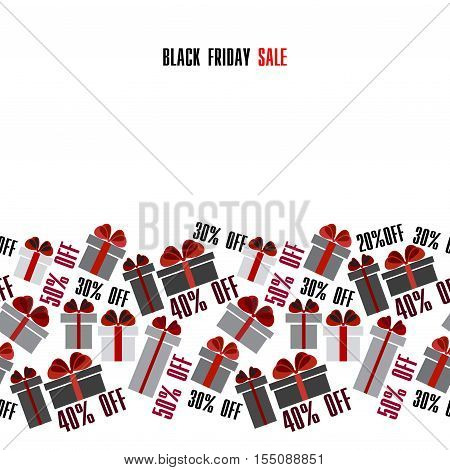 Black Friday sale black red white gift boxes horizontal seamless border. Light Black Friday sale design. Vector illustration stock vector.