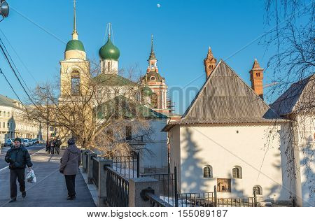 Moscow, Russia - February 18, 2016. The historic street Barbarian with many old temples
