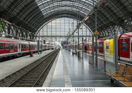 People Arrive And Depart At Frankfurt Train Station