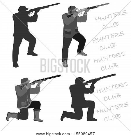 man shoots from a rifle at the target and hunting. set in different poses.    totally vector illustration. Isolate on white background. easy to cut to your Projects summary