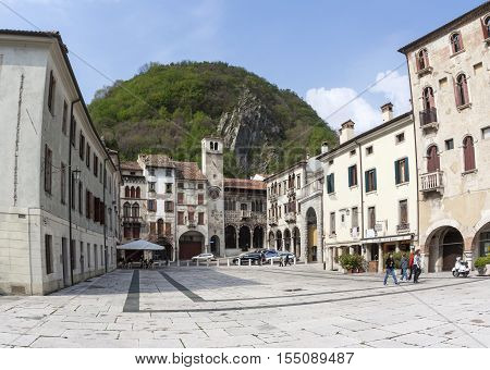 Market Place At Old Town Of Vittorio Veneto