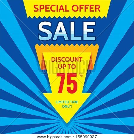 Sale vector banner design - discount up to 75%. Special offer origami layout. Limited time only! Abstract poster background. Flyer sticker.