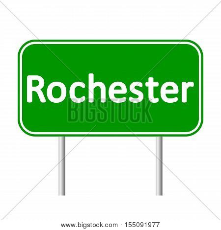 Rochester green road sign isolated on white background.