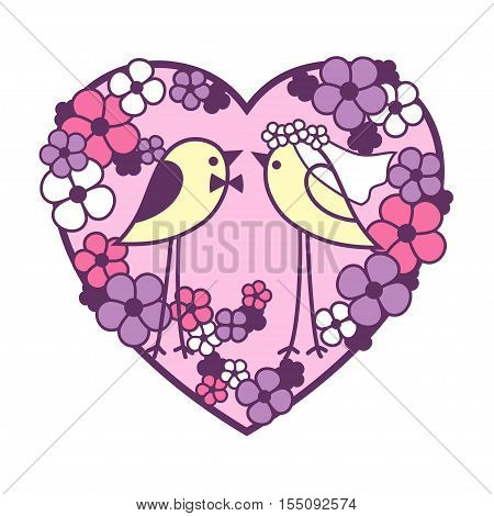 Wedding two canaries among the bright flowers. Openwork heart wreath of flowers. Valentine's Day card vector design.
