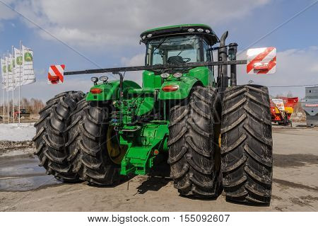 Tyumen, Russia - April 04. 2014: IV Tyumen specialized exhibition Agricultural Machinery and Equipment. Display exhibits