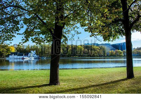 Beautiful view on the shore of Lake Komsomol,Minsk