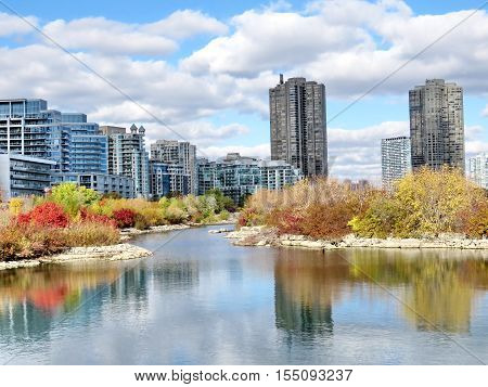 The complex of buildings Humber Bay on bank of the Lake Ontario in Toronto Canada November 4 2016