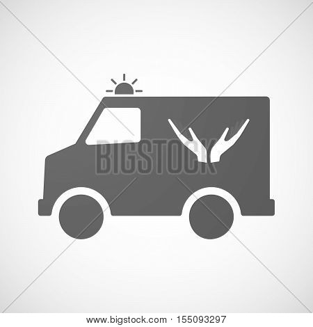 Isolated Ambulance Furgon Icon With  Two Hands Offering