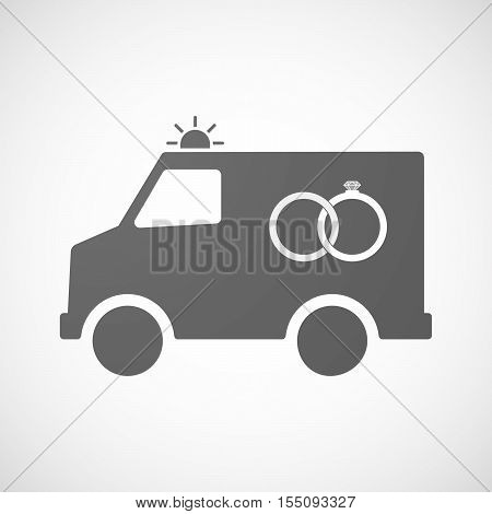 Isolated Ambulance Furgon Icon With  Two Bonded Wedding Rings