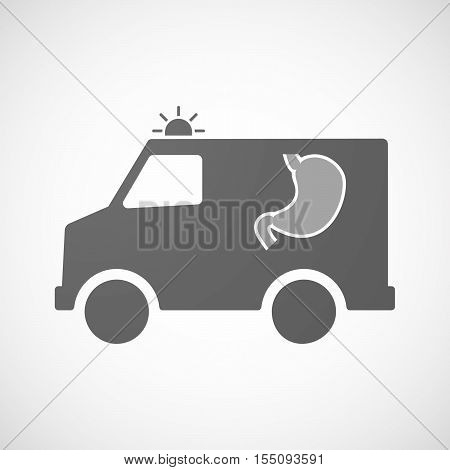 Isolated Ambulance Furgon Icon With  A Healthy Human Stomach Icon