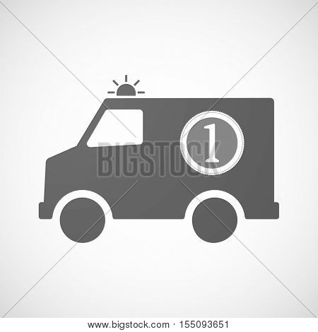 Isolated Ambulance Furgon Icon With  A Dollar Coin Entering In A Moneybox