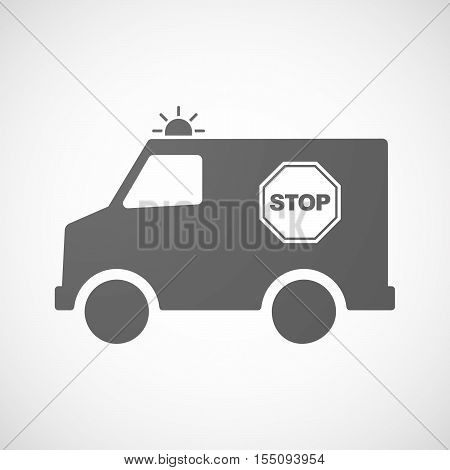 Isolated Ambulance Furgon Icon With  A Stop Signal