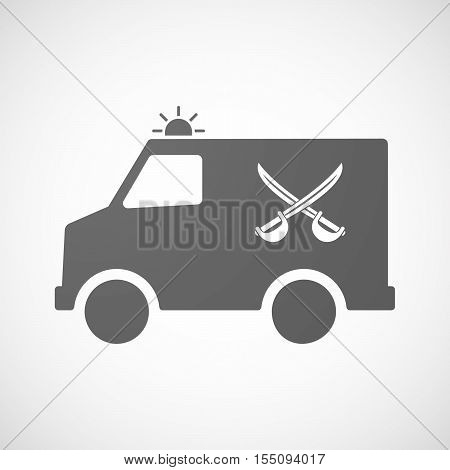 Isolated Ambulance Furgon Icon With  Two Swords Crossed