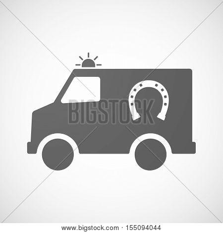 Isolated Ambulance Furgon Icon With  A Horseshoe Sign
