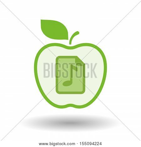 Isolated Healthy Apple Fruit With  A Music Score Icon