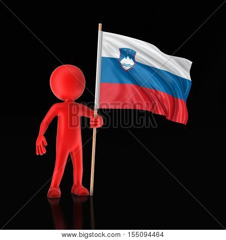 3D Illustration. Man and Slovene flag. Image with clipping path