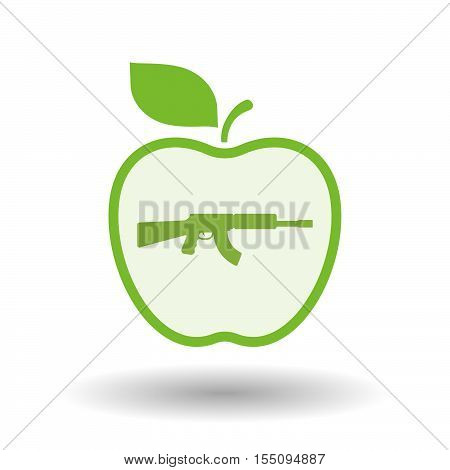 Isolated Healthy Apple Fruit With  A Machine Gun Sign