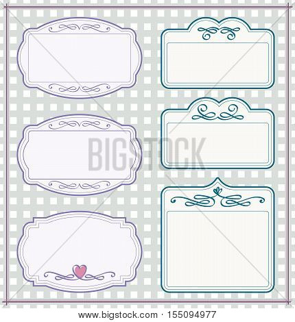 vintage frame set with checkered background and with calligraphic design elements