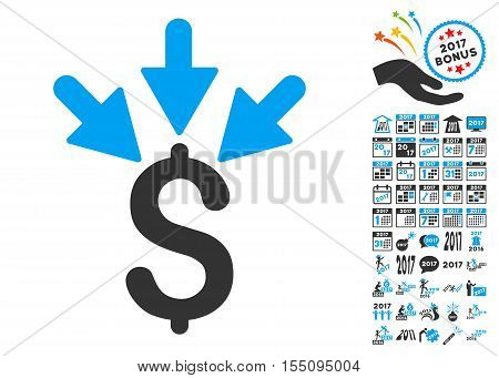 Aggregate Payment pictograph with bonus 2017 new year icon set. Vector illustration style is flat iconic symbols, modern colors.