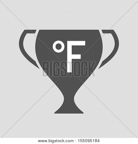Isolated Award Cup Icon With  A Farenheith Degrees Sign
