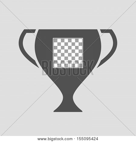 Isolated Award Cup Icon With  A Chess Board