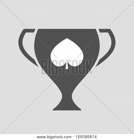 Isolated Award Cup Icon With  The  Spade  Poker Playing Card Sign
