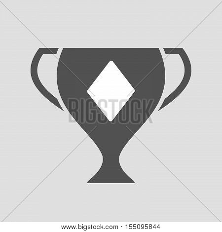Isolated Award Cup Icon With  The  Diamond  Poker Playing Card Sign