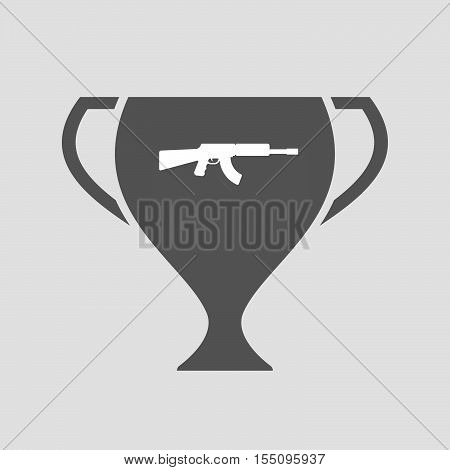Isolated Award Cup Icon With  A Machine Gun Sign