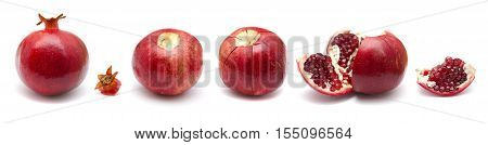 pomegranate fruit segmenting sequence isolated on white background
