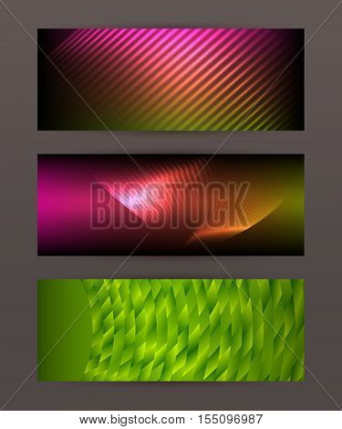 Set Horizontal Banner Design Element Background Glow Abstract Shape15