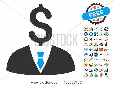 Businessman icon with bonus 2017 new year symbols. Vector illustration style is flat iconic symbols, modern colors.