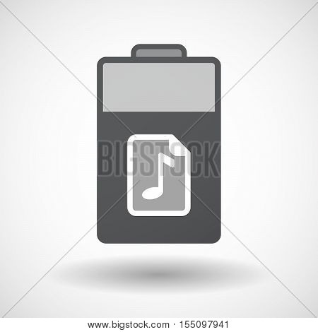 Isolated Battery Icon With  A Music Score Icon