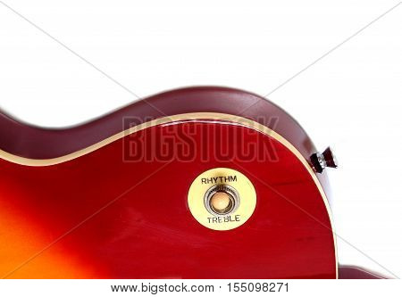 Part of vintage electric guitar wineburst color isolated on white background vertical view closeup