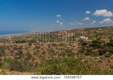 Agia Irini Greece. July 27. 2016: Panoramic view to Rethymno from Agia Irini Monastery. Set on the foot of the mount Vrysina on the northeast of the city of Rethymnon the Holy Monastery of Agia Irini is one of the oldest in Crete and it is dated from the