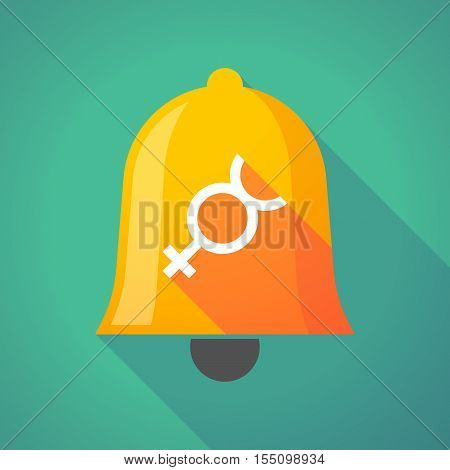Long Shadow Bell Icon With  The Mercury Planet Symbol