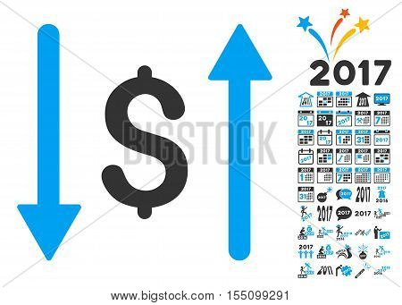 Dollar Swap icon with bonus 2017 new year images. Vector illustration style is flat iconic symbols, modern colors.
