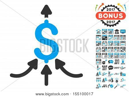Financial Aggregator pictograph with bonus 2017 new year pictograms. Vector illustration style is flat iconic symbols, modern colors.