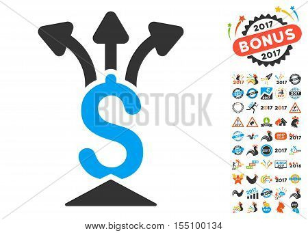 Financial Aggregator pictograph with bonus 2017 new year graphic icons. Vector illustration style is flat iconic symbols, modern colors.