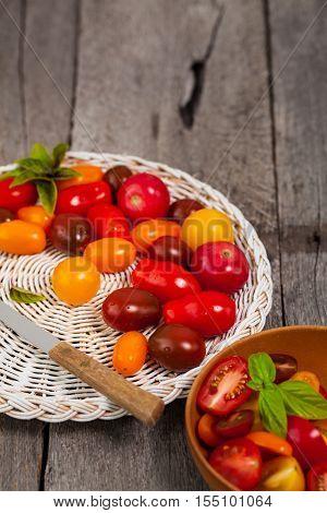 Fresh Cherry Tomato Mixed Medley. Selective focus.