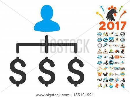Money Collector icon with bonus 2017 new year images. Vector illustration style is flat iconic symbols, modern colors.