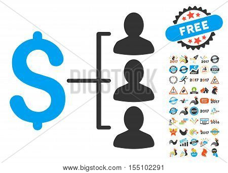 Money Recipients pictograph with bonus 2017 new year pictures. Vector illustration style is flat iconic symbols, modern colors.