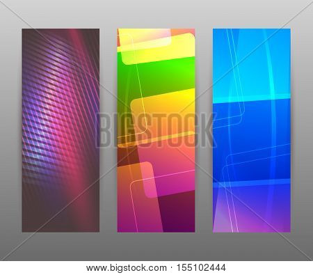 Vertical Banner Set Design Element Background Glow Abstract Shape01