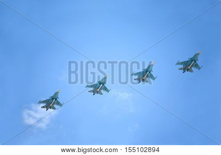 Moscow, Russia - May 9, 2016: 4 Four Su-34 Fullback bombers on parade devoted to Victory Day on May 9, 2016 in Moscow