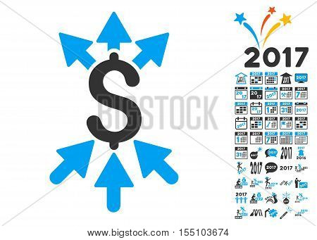 Payment Broker pictograph with bonus 2017 new year graphic icons. Vector illustration style is flat iconic symbols, modern colors.