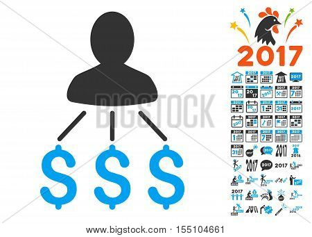 Person Expenses icon with bonus 2017 new year pictograph collection. Vector illustration style is flat iconic symbols, modern colors.