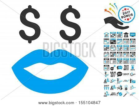 Prostitution Smiley pictograph with bonus 2017 new year icon set. Vector illustration style is flat iconic symbols, modern colors.
