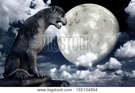 Ancient lion statue and bright moon in the night sky. Elements of this image furnished by NASA