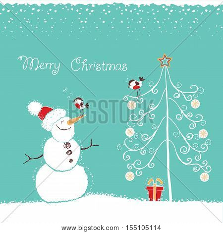 Christmas Winter Card With Snowman And Bullfinch