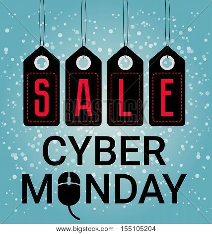 Cyber Monday design, sales. Mouse icon, vector illustration. November or christmas big sale, discount, advertising, marketing tag. Black colored price stickers on the snow background