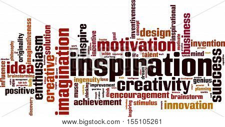Inspiration word cloud concept. Vector illustration on white